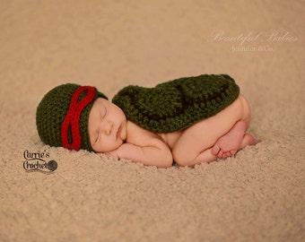 Crochet Ninja Turtle Newborn Set