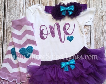 First Birthday Outfit Girl ONE Glitter Bodysuit | Optional Leg Warmers Headband Set | Purple And Teal Glitter Baby Girl Outfit Smash Cake