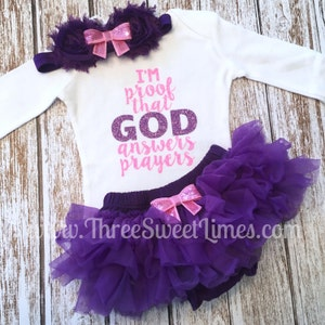 Adoption Day Outfit Take Home Outfit I/'m Mama and Daddy/'s Answered Prayer Baby Girl Clothes Pink and Gold Baby Clothes Tutu