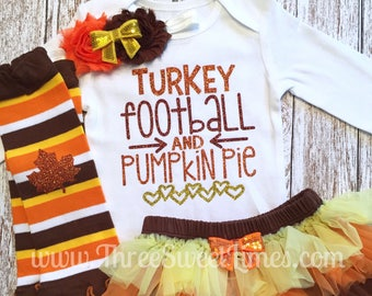 Thanksgiving Outfit Turkey Football Pumpkin Pie Fall Baby Girl Bodysuit  Shirt | Fall Tutu Bloomer | Opt Leg Warmers Headband Tutu