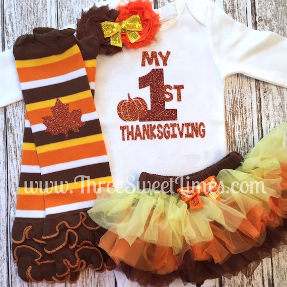 f3e565914 My First Thanksgiving Baby Girl Fall Outfit Fall 1st | Etsy