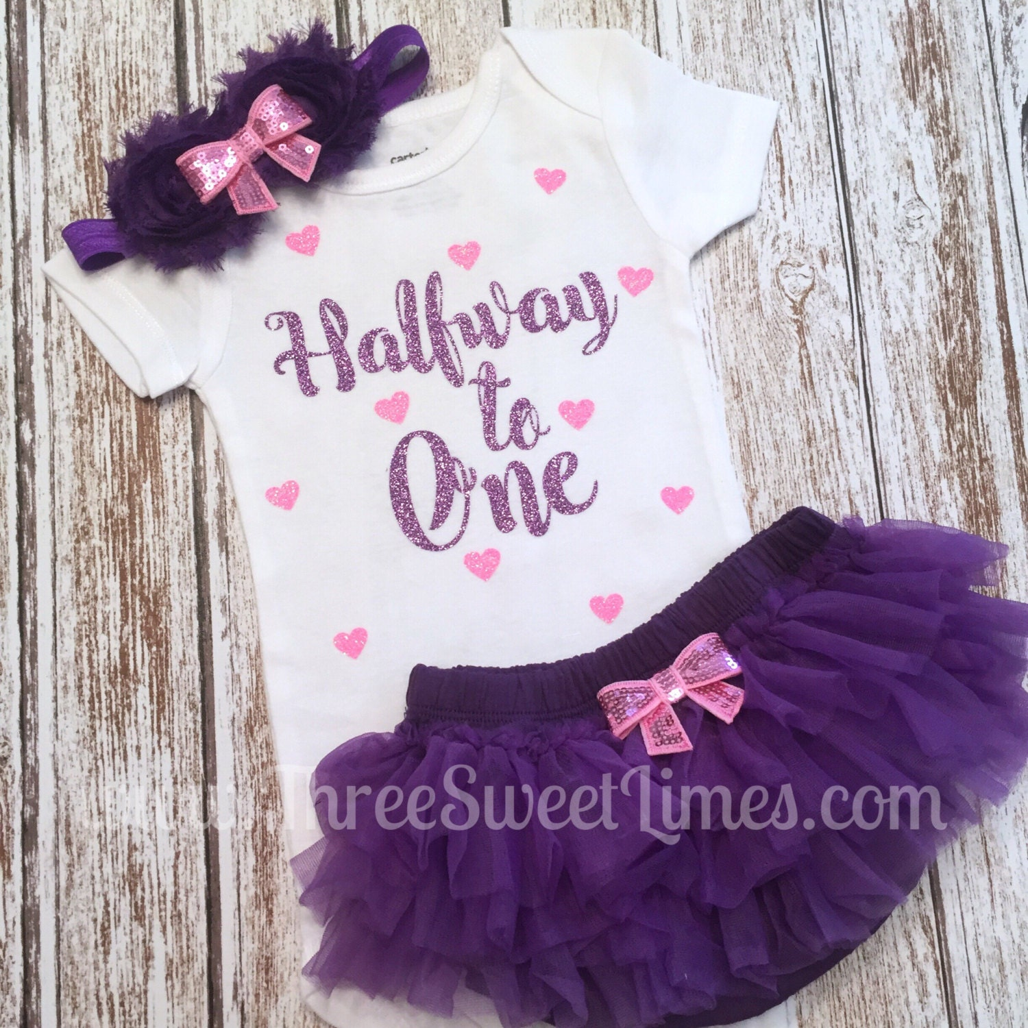 Halfway To One Baby Girl Outfit Tutu Bloomers Six Month