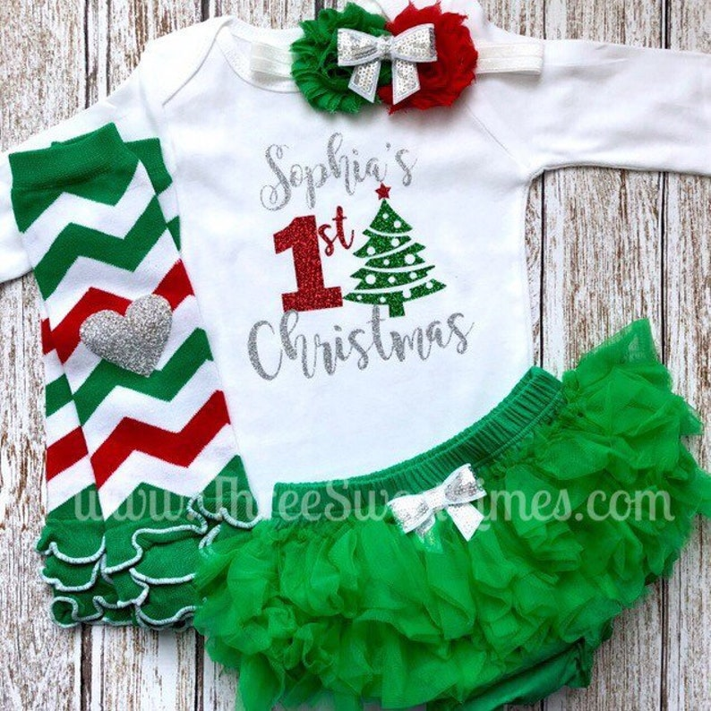 718a1dcd5ddef Personalized First Christmas Baby Outfit My First Christmas