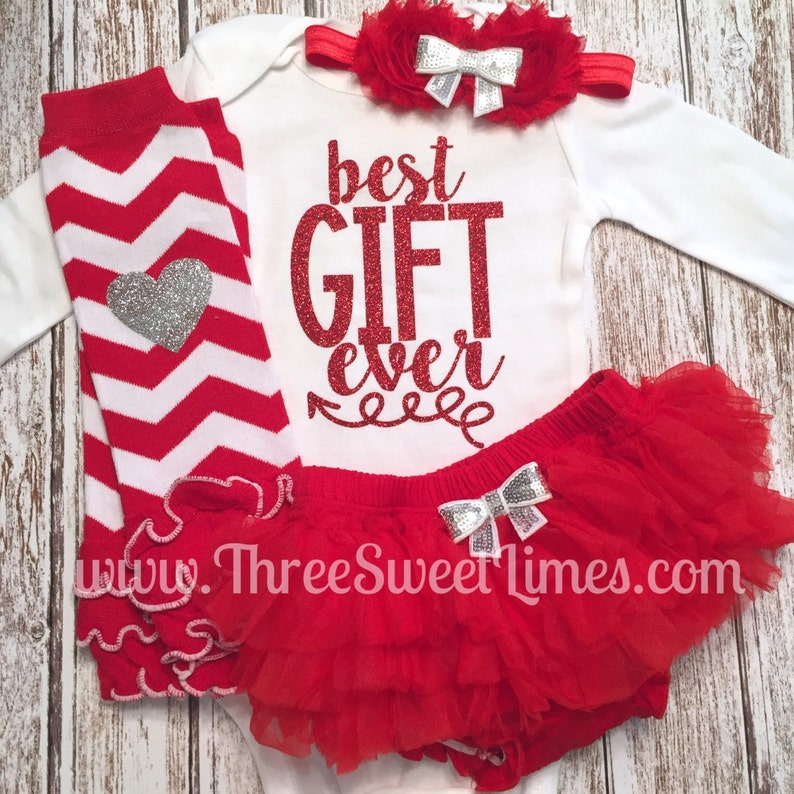 1fb2117923c1 Best Gift Ever Baby Girl Christmas Outfit Baby s First