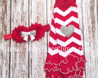 Christmas Leg Warmers and Headband Ready to ship. Baby Girl Valentine Rosette Headband Red and white