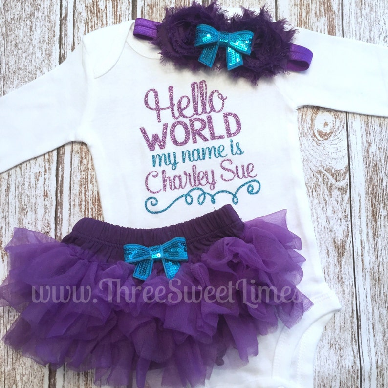 51599600e Hello World Coming Home Outfit Baby Girl Tutu Bloomers