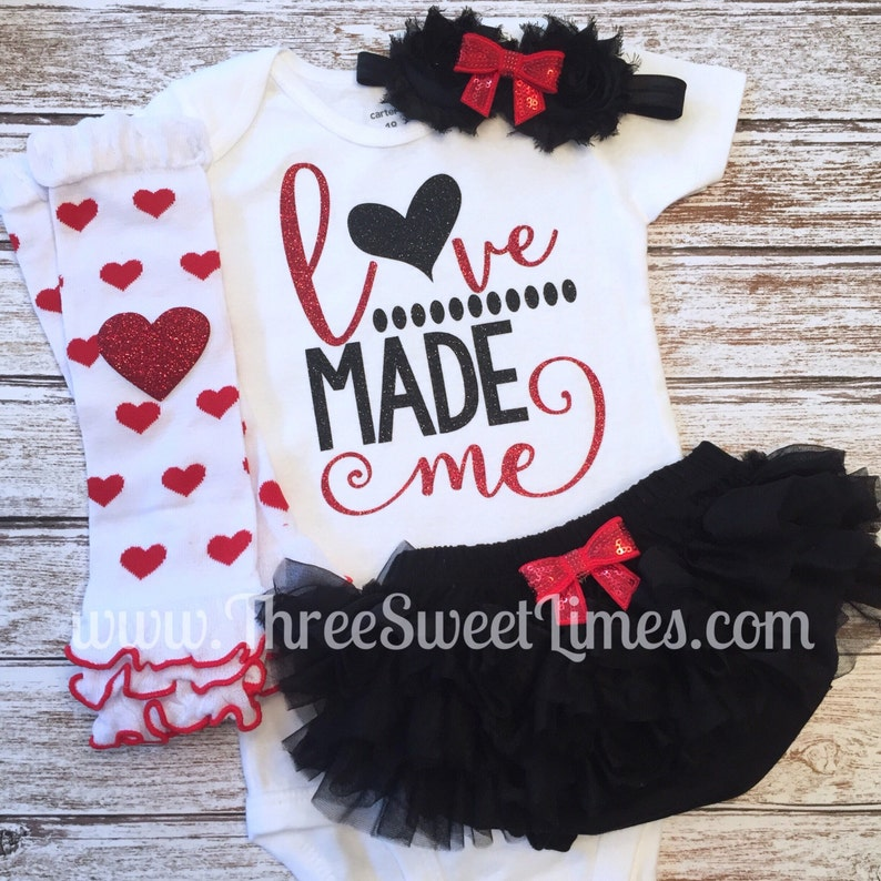 Baby girl Valentine/'s Day outfit Love Made Me bodysuit opt Leg Warmers Headband Bloomers Red White Black Glitter