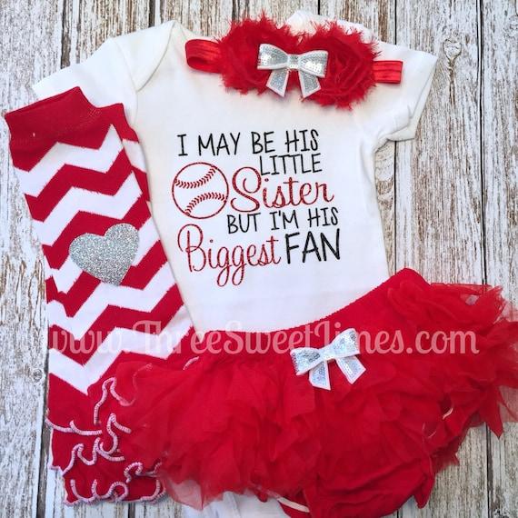 Baseball Sister Shirt and Ruffle Shorts Set Sister Fan Baseball Outfit Toddler Girl Clothes Baby Girl by Charming Necessities red royal