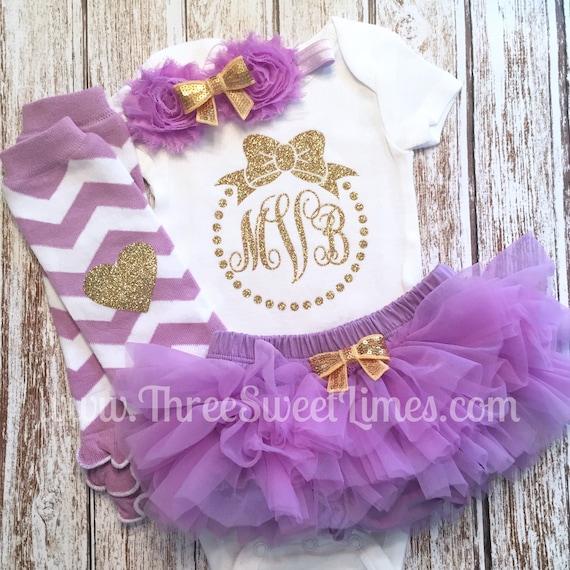 33efe77de Monogrammed Baby Girl Shower Gift Personalized Purple Gold | Etsy