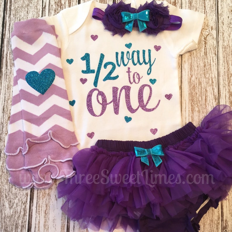 813e6aee Halfway to One 6 Six Month Baby Girl Outfit Half Birthday Set | Etsy