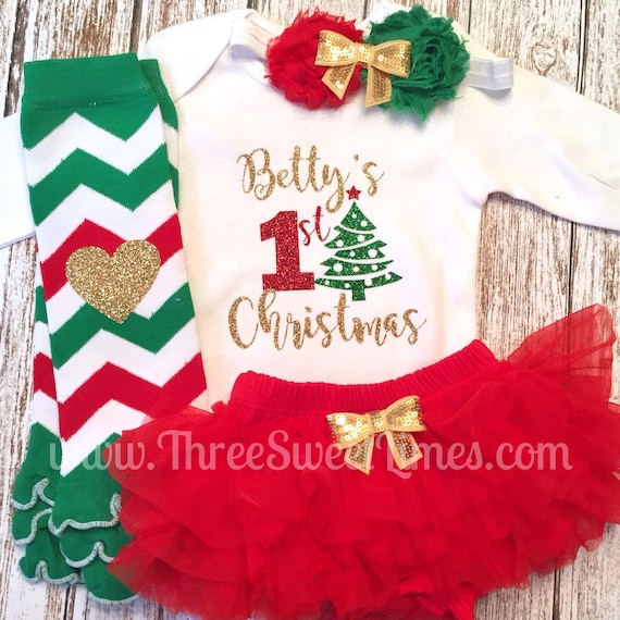 image 0 - My 1st Christmas Baby Girl Christmas Outfit Personalized Etsy