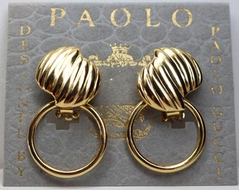 1a52bd25a7b VINTAGE 1980s GUCCI EARRINGS  signed  Gorgeous  Paolo Gucci Designer Gold  Convertible Doorknocker Clipon Statement Earrings