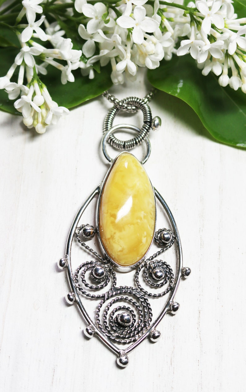 60407c031 MILK & BUTTER RARE Yellow Baltic Amber in 925 Sterling Silver   Etsy