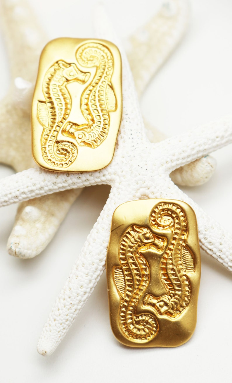 VINTAGE 1990s LIZ CLAIBORNE *signed* Rare Gold Seahorse Statement Earrings ~ Estate and Summer Resort Jewelry!