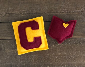 Cleveland Basketball Catnip Cat Toy - 2 Pack - Sports Cat Nip KittyToys - Wine and Gold
