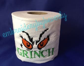 Christmas Grinch toilet Paper embroidered gag gift. Bathroom decor.
