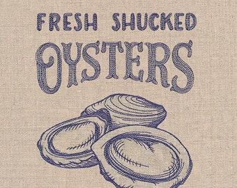 Seafood Market - Fresh Shucked Oysters embroidered tea towel, hand towel, flour sack, dish towel.