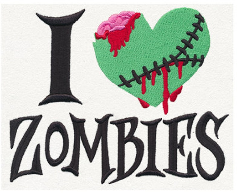 I love Zombies embroidered on a beige tote bag.
