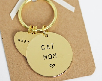 Cat Mum / Mom / Mama / Nana Keyring, Personalised with cats name(s) cat lover gift