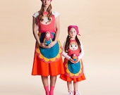 Mommy and me nesting doll matryoshka costumes - Set of Halloween girl costume and adult costume