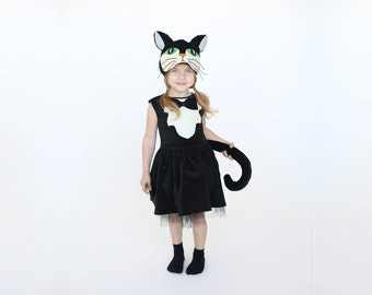 Girls cat costume Kids costume girls costume  sc 1 st  Etsy : girls halloween cat costumes  - Germanpascual.Com