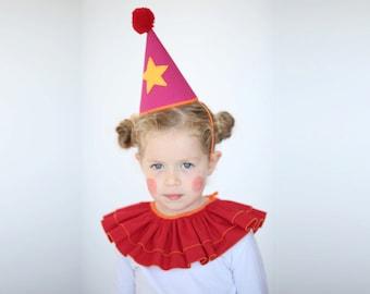 Halloween Clown hat and collar,  Clown costume, handmade costume,  Halloween costume,  toy, Christmas gift, Xmas gift
