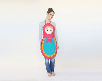 Womens Babushka apron, gift for her, hostess gift, Hosting ware, russian doll apron, handmade costume, Xmas gift, Foodie Gift, Clothing gift