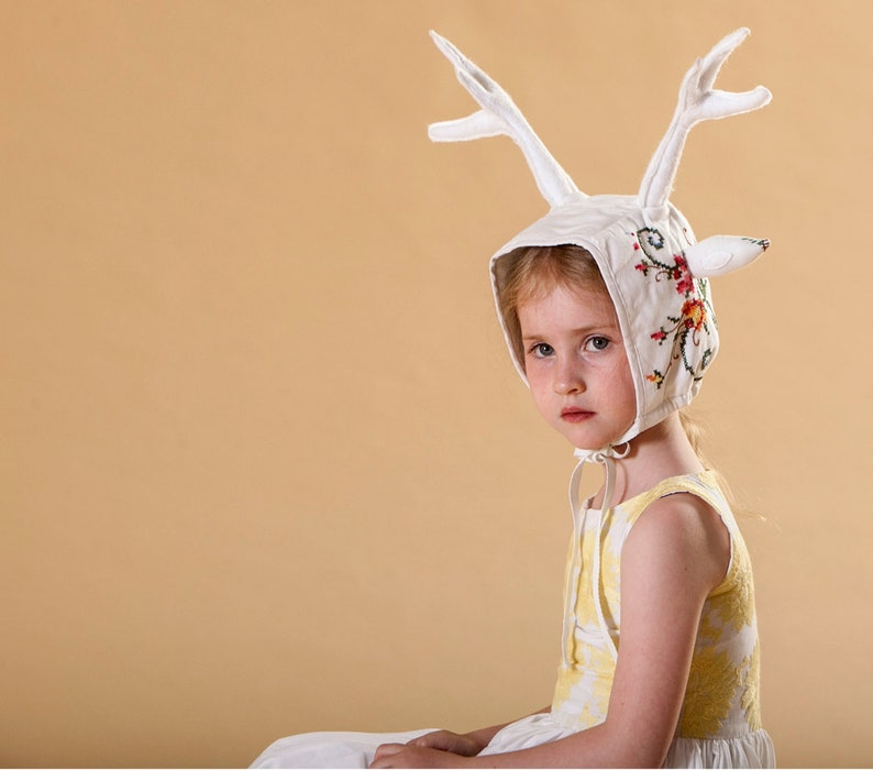 White Deer Hat with antlers made from vintage embroidery