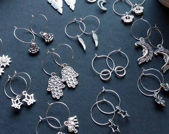 0e2739f71 DEAL - 2x Pairs For 4.99 Small Charm Hoop Earrings Silver Plated 2cm Choose  your Charm Heart Sunflower Moon Star options ect