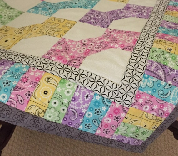 Baby Quilt, Lap Quilt, Bandana, Patchwork Quilt, Pastel Bow Ties, Quiltsy Handmade