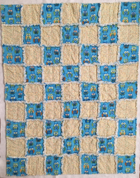 Owl Baby Quilt, Baby Rag Quilt, Lap Rag Quilt, Quiltsy Handmade