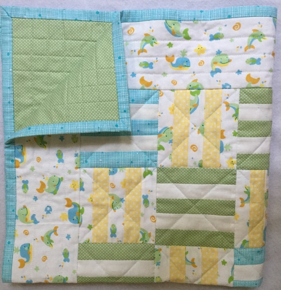 Baby Quilt, Crib Quilt, Boy's Quilt, Whales and Dolphin Quilt, Patchwork Quilt, Quiltsy Handmade