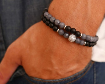 Men's Bracelet Set - Men's Beaded Bracelet - Men's Skull Bracelet - Men's Gemstone Bracelet - Men's Jewelry - Men's Gift - Husband Gift
