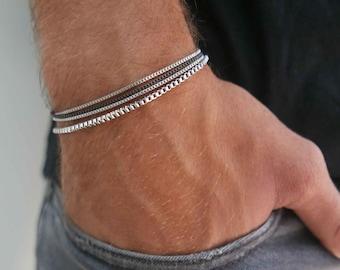 Men's Bracelet- Men's Silver Bracelets- Men's Chain Bracelet- Men's Cuff Bracelet- Men's Jewelry- Boyfriend- Husband- Christmas Gift for Him