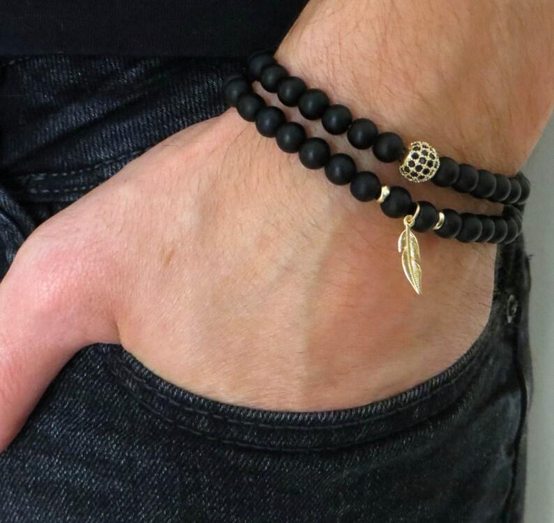 f460b4efccf1 Pulsera de Onyx - de piedras preciosas pulsera - joyas para hombres -  hombres regalo - manual de pluma pulsera Set - pulsera de cuentas de los  hombres - de ...
