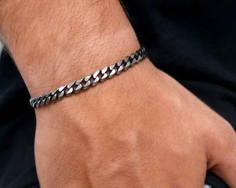 Men's Bracelet- Men's Silver Bracelets- Men's Chain Bracelet- Men's Cuban Bracelet- Men's Cuff Bracelet- Men's Jewelry- Christmas Gift