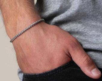Men's Bracelet- Men's Silver Bracelets- Men's Chain Bracelet- Men's Cuff Bracelet- Men's Jewelry- Husband- Boyfriend- Christmas Gift for Him