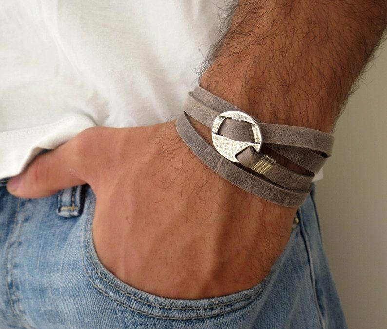 Men's Bracelet  Men's Leather Bracelet  Men's image 0