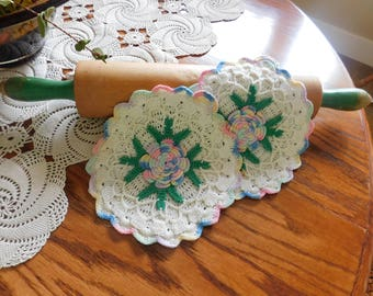 Pair of Vintage Crochet Pot Holders from the 40s