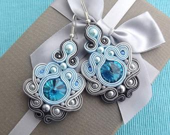 Rivoli Baby Blue &  Shades Grey Soutache Earrings