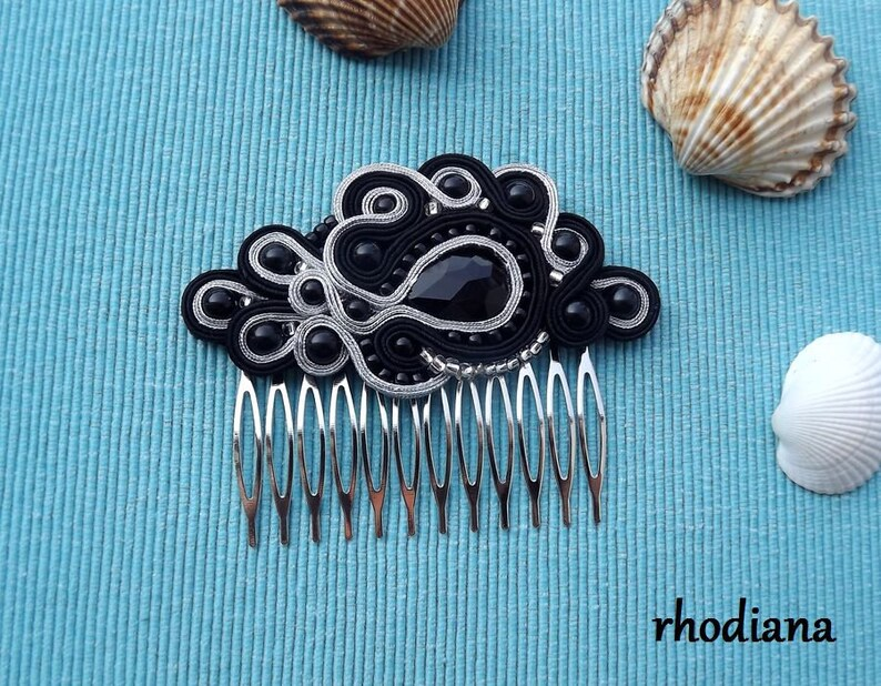 Hair Accessory Soutache Black /&  Silver Soutache comb