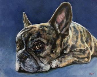 Custom Pet Portrait:  French Bulldog, Giclee Print