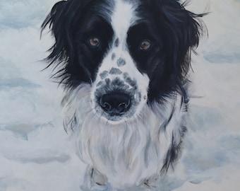 Snow Dog! Original Acrylic painting