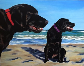 Two black labs! Giclee Print from original painting