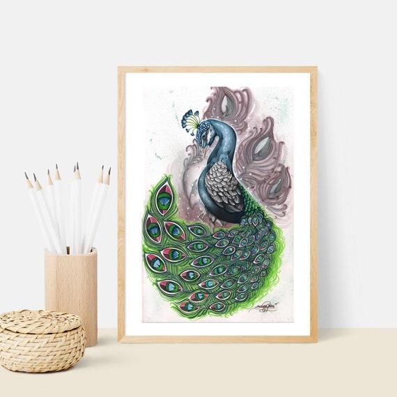 Peacock Drawing Peacock Art Pencil Drawing Peacock Colored Etsy