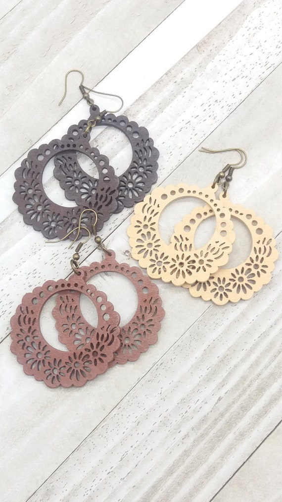 Papel picado Mexican earrings Laser cut Inspired by our traditional Papel picado Celebrate Mexico Folk Art Fresh look Very Feminine