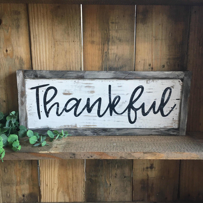 Thankful Wood Sign Rustic Farmhouse Home Decor Distressed