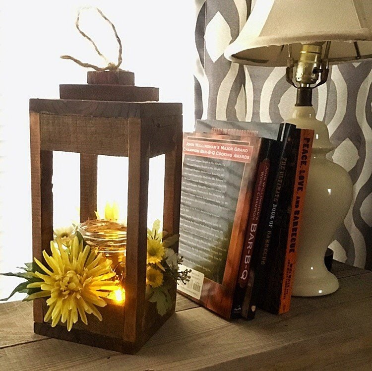 Rustic Wooden Lantern Reclaimed Wood Lantern Wood Candle Holder