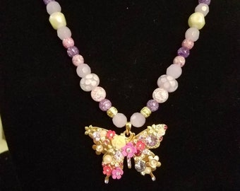 Beautiful Butterfly Beaded Necklace