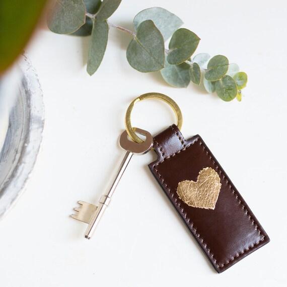 Gold Leaf Heart Leather Key Ring Black Leather Key Ring  e77acc6478